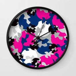 Pink and blue camouflage Wall Clock