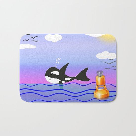 Happy Orca in the Ocean Bath Mat