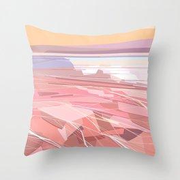 Geometric pink lake and sky, Hutt Lagoon, Western Australia Throw Pillow