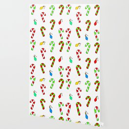 Christmas Lights and Candy Canes Wallpaper