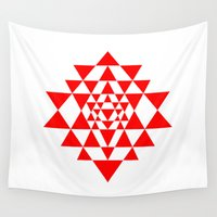 sacred geometry Wall Tapestries featuring Sri yantra detail, sacred geometry  by Elfina