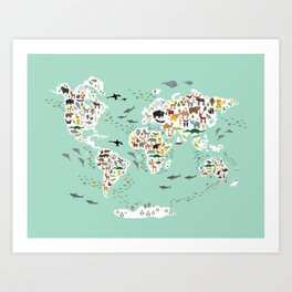 Cartoon animal world map for children, kids, Animals from all over the world, back to school, mint Kunstdrucke