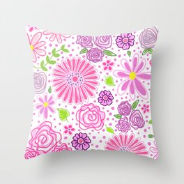 Happy Spring Flowers Throw Pillow