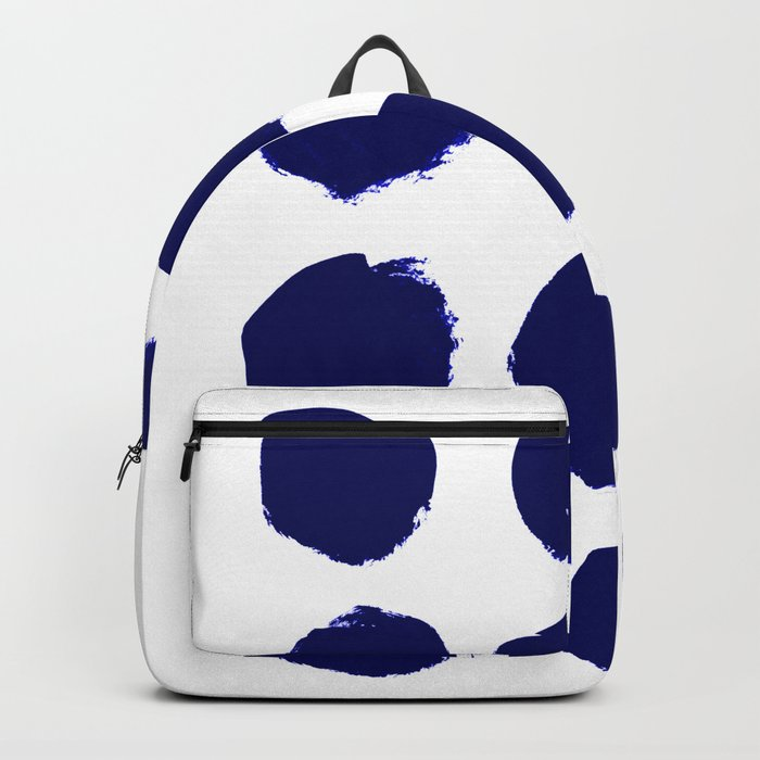 Aria - indigo brushstroke dot polka dot minimal abstract painting pattern painterly blue and white  Backpack