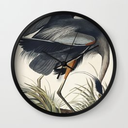Great blue Heron from Birds of America (1827) by John James Audubon etched by William Home Lizars Wall Clock