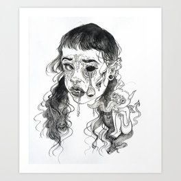 Zombie and Parasite Art Print