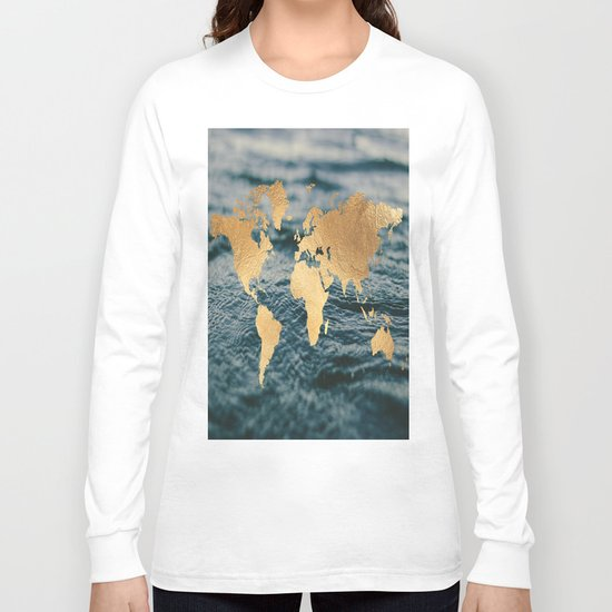 Gold Map in Water Long Sleeve T-shirt