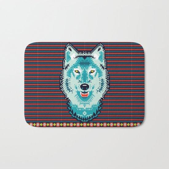 Geometric Wolf  Bath Mat