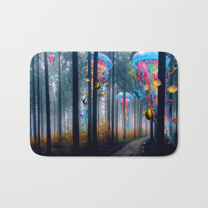 Forest of Super Electric Jellyfish Worlds Bath Mat