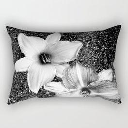 White Lilies on Black Glitter #1 #floral #decor #art #society6 Rectangular Pillow