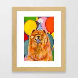 Chow Chow with Balloons Framed Art Print