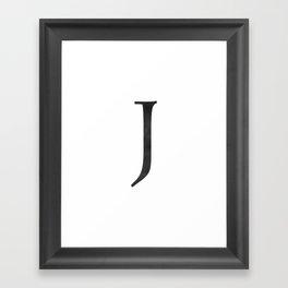 Letter J Initial Monogram Black and White Framed Art Print