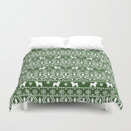Bichon Frise christmas fair isle green dog silhouette minimal winter sweater holiday Duvet Cover