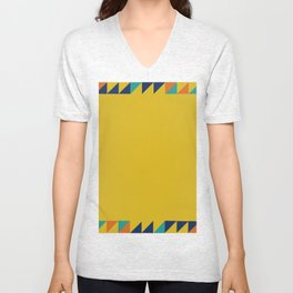 Geometric Square Border Pattern Unisex V-Neck