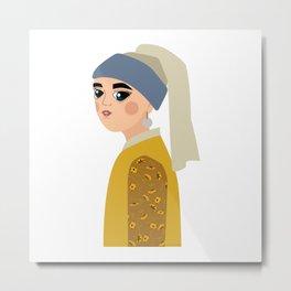 Johannes Vermeer, la mujer de la perla Metal Print