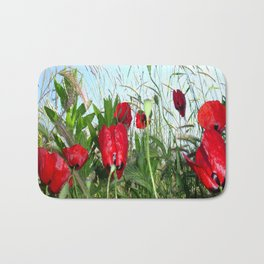 Landscape Close Up Poppies Against Morning Sky Bath Mat