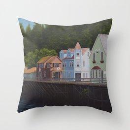 Ketchikan's Creek Street Throw Pillow