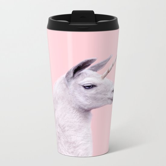 UNICORN LAMA Metal Travel Mug