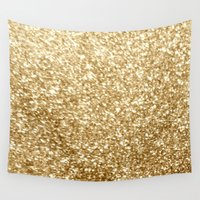 gold glitter Wall Tapestries featuring Gold glitter by Masanori Kai