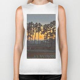 Japanese Woodblock Print Morning Sunrise Farm Tree Silhouette Biker Tank