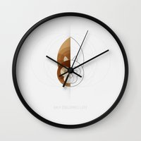 half life Wall Clocks featuring HALF (squirrel) LIFE by Nillustra™