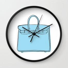 Light Powder Blue Birkin Vibes High Fashion Purse Illustration Wall Clock