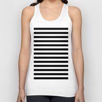 stripes Tank Tops featuring Horizontal Stripes (Black/White) by 10813 Apparel