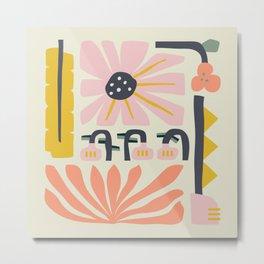 Fun abstract flower garden Pinks Metal Print