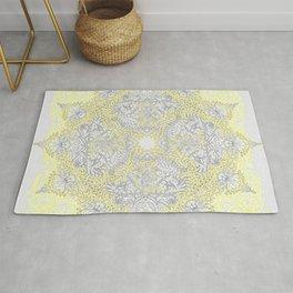 Sunny Doodle Mandala in Yellow & Grey Rug