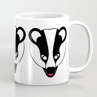 badger Mugs featuring Badger by Doctor Hue