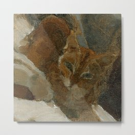 Tabby Cat Impressionist Painterly Oil Painting Orange, Blue and White Metal Print