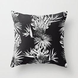 Black and white tropics Throw Pillow