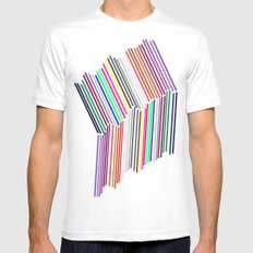 line line line   (A7 B0074) White MEDIUM Mens Fitted Tee