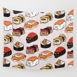 Sushi Persian Cat Wall Tapestry