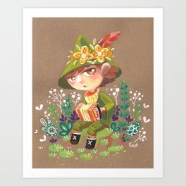 Snufkin playing Accordion Art Print