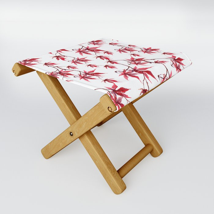 Watercolor Botanical Red Japanese Maple Leaves on Solid White Background Folding Stool