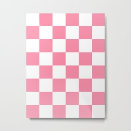 Large Checkered - White and Flamingo Pink Metal Print