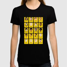 Community Guess Who Faces MEDIUM Womens Fitted Tee Black