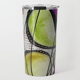 Green, orange and purple watercolor digital abstract design Travel Mug