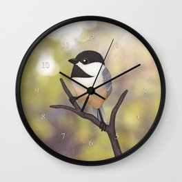 Ellery the black-capped chickadee Wall Clock