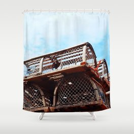 Lobster Trap Stack Shower Curtain