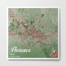 Florence - Italy Christmas Color City Map Metal Print