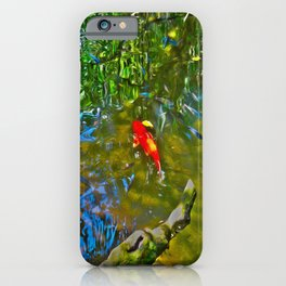 Water Reflections and Koi Fish (oil) iPhone Case