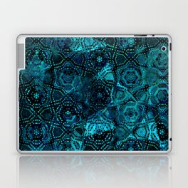 Starry Deep Blue Night Sky , Abstract Geometric Pattern with Moon Lit Domino Stars Laptop & iPad Skin