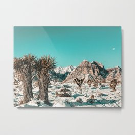 Vintage Lovers Cacti // Red Rock Canyon Mojave Nature Plants and Snow Desert in the Winter Metal Print