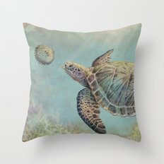 A Curious Friend (sea turtle variation) Throw Pillow