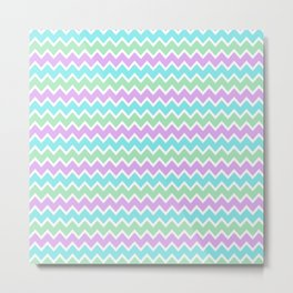 Turquoise Aqua Blue and Light Purple Lavender and Mint Green Metal Print