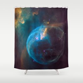 picture of star by Hubble: bubble nebula Shower Curtain