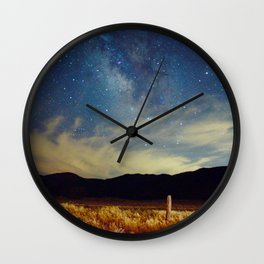 Milky Way Star Night Sky Over Wheat Field Magical Landscape Wall Clock