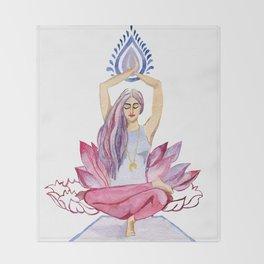 yoga girl Throw Blanket
